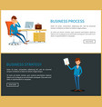business process and strategy plan of businessman vector image vector image