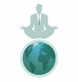 businessman with hat doing yoga on the top of the vector image