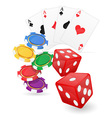 casino items cards ace and chips dice vector image vector image