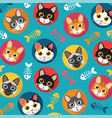cats and fishbone full color vector image vector image