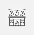 christmas fireplace with gifts icon in thin vector image