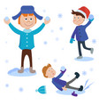 christmas kids playing winter games cartoon new vector image vector image