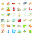 cityscape icons set cartoon style vector image