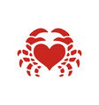 crab love heart seafood logo icon vector image