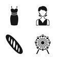 dress girl and other web icon in black style vector image vector image