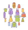 fashion clothes wear icons set cartoon style vector image vector image