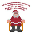 fat santa in sunglasses in the style of the film vector image