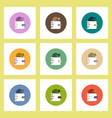 Flat icons set of business pie chart in wallet