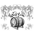 grape branches and wine barrel isolated on white vector image