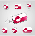 greenland country flag on keychain and map pin vector image vector image