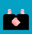 handshake businessman cartoon business vector image vector image