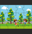 jigsaw puzzle pieces for kids in the park vector image vector image