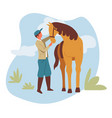 man and horse equestrian or farmer rancher and vector image