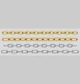 metal chain silver steel or golden links set vector image