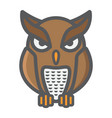 owl filled outline icon halloween and scary vector image vector image