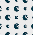 pac man icon sign Seamless pattern with geometric vector image