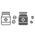 pills bottle line and glyph icon medical vector image