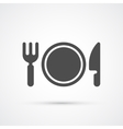 Plate with fork and knife trendy icon vector image vector image