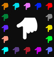 Pointing hand icon sign Lots of colorful symbols