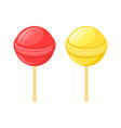 red and yellow lollipops candy on stick set vector image