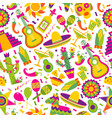 seamless pattern with mexican elements vector image vector image