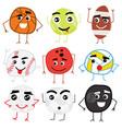 set cute cartoon balls characters vector image