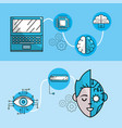 set future technologies with global information vector image vector image