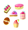 set of cute cartoon sweet cakes vector image