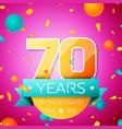 seventy years anniversary celebration design vector image vector image