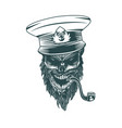 skull captain with a pipe monochrome hand drawn vector image vector image