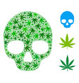 skull mosaic of cannabis