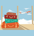 stack of traveling luggage in airport terminal vector image vector image