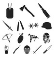 types of weapons black icons in set collection for vector image