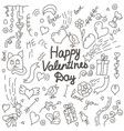 valentines day hand drawn doodle card vector image vector image
