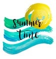 watercolor summer time hand lettering vector image