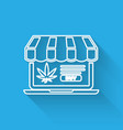 white line laptop and medical marijuana or vector image vector image