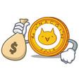 with money bag monacoin character cartoon style vector image vector image