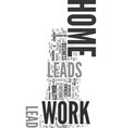 work at home leads text word cloud concept vector image vector image