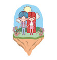 young couple outdoors landscape cartoon vector image