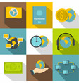 travel support icons set flat style vector image