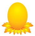 easter day golden egg cartoon character with feath vector image