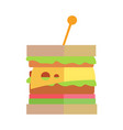 fast food cheeseburger in flat design vector image