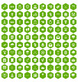 100 arrow icons hexagon green vector image vector image