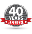 40 years experience retro label with red ribbon vector image vector image