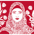 arab girl with tulips vector image vector image