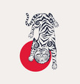 asian japanese tiger and red sun wild animal vector image vector image