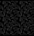 Black white seamless floral pattern with tulips