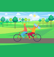 boy and girl riding tandem bicycle vector image