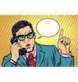 business boss talking on phone retro vector image vector image