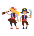 children in pirates costume kids birthday party or vector image vector image